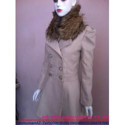 Áo khoác dạ măng tô màu xám ghi thiết kế vest phối cổ lông AKMT62