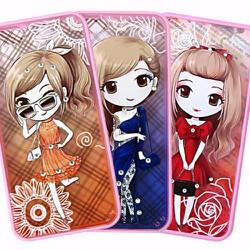 Ốp lưng iPhone 5-5S viền màu hình cô gái chibi