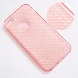 Ốp lưng dẻo iPhone 5-5S màu hồng viền màu vân sần