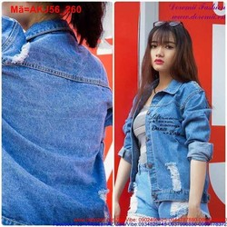 Áo khoác Jean nữ rách in chữ tay dài cá tính AKJ56