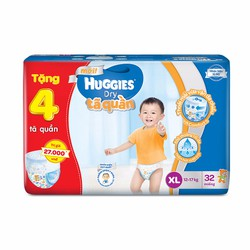 Tã quần HUGGIES PANTS JUMBO XL32 tặng 4 tã quần