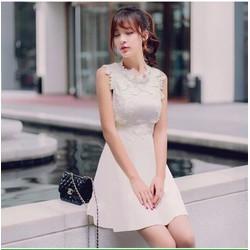 Đầm xòe hoa nổi thời trang