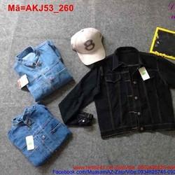 Áo khoác Jean nữ tay dài cổ trụ phối túi sành điệu AKJ53