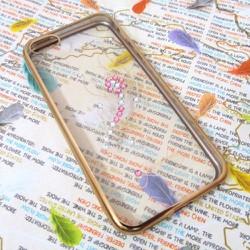 Ốp lưng nhựa dẻo iPhone 5-5S trong suốt viền màu mẫu 1
