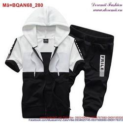 Bộ quần áo thể thao nam short lửng phối nón năng động BQAN68
