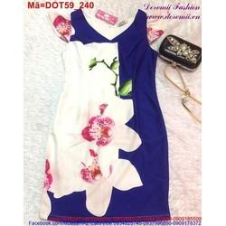 Đầm ôm công sở in hoa cổ V lịch sử trẻ trung DOT59