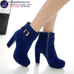 Giày boot nữ nhung màu xanh coban sang trọng GBN83