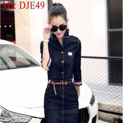 Đầm jean nữ dáng ôm thời trang và sành điệu phối hoa văn viền DJE49