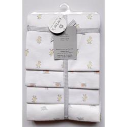 CARTERS - Bộ 4 chăn cuốn flannel 76x101cm trắng hình thú