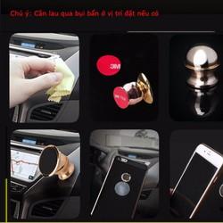 Bộ Đế nam châm giá đỡ điện thoại trên xe hơi, ô tô 360 độ màu gold