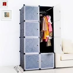 Tủ nhựa ghép 8 ô, khung đen, cửa trắng trong