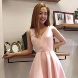 Đầm xòe thiết kế chéo váy xếp ly màu hồng dễ thương DXV74