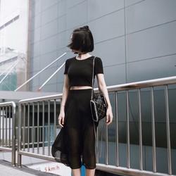 Sét Áo Croptop + Váy Voan Hàng Thái