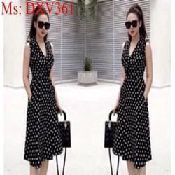 Đầm xòe công sở form dài chấm bi sành điệu xinh đẹp DXV361