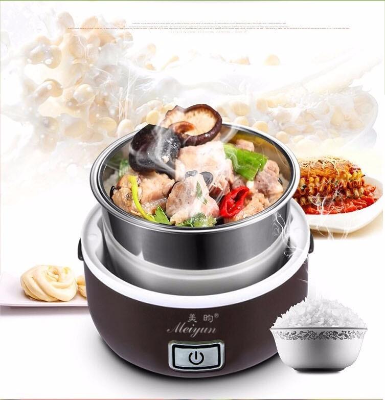 Hộp cơm hâm nóng cắm điện inox 3 tầng Meiyun 9
