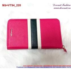 Ví cầm tay nữ màu hồng Prada phối sọc đen đáng yêu VT94