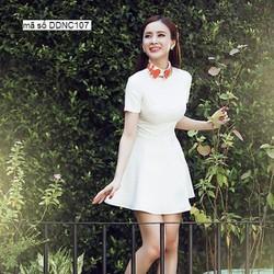 Đầm xòe trắng tay con thiết kế dễ thương như Phương Trinh DDNC107