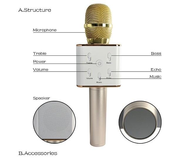 Micro Karaok Bluetooth Q7 Tặng Kèm Đèn Led USB 3
