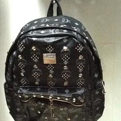 Balo đi học nhỏ gọn màu đen MCM chất liệu da mềm BLDH172