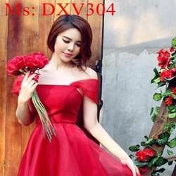 Đầm xòe rớt vai xinh đẹp phối lưới sàn điệu sang trọng DXV304