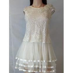 đầm ren trắng phối váy voan xếp ly xoè xinh xắn