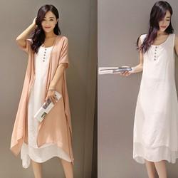 Sét đầm suông trắng và áo choàng nhiều màu