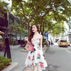 Đầm xòe họa tiết hoa hồng xinh đẹp cúp ngực quyến rũ DXV110