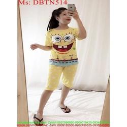 Đồ bộ nữ mặc nhà lửng hình bọt biển đáng yêu DBTN514