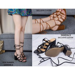 Giày sandal chiến binh đế vuông đính kim loại - hàng xuất khẩu cao cấp