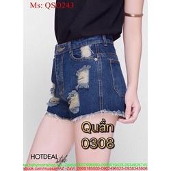 Quần short jean nữ kẻ ô rách tua sành điệu cá tính QSO243