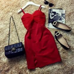 Đầm ôm dây pha lưới ngực