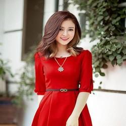 Đầm dự tiệc xòe tay xếp ly đính nơ xinh đẹp màu đỏ sang trọng DXV183