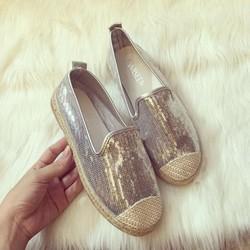 Giày lười viền cói kim tuyến