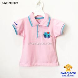 Áo thun viền cổ mèo kitty màu hồng phấn