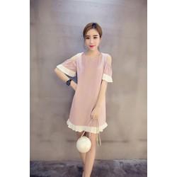 Đầm suông nữ phối màu hở vai tôn dáng DA14