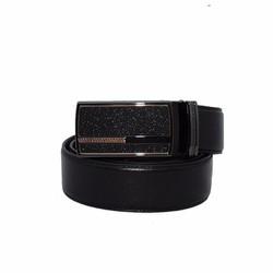 Dây lưng nam da bò thật cao cấp ELMI màu đen mặt kính EDM110