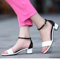 Giày cao gót quai ngang phối màu