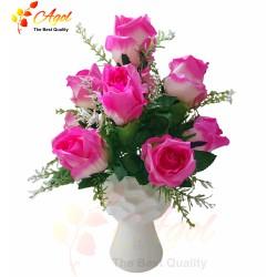 Chậu hoa hồng trung