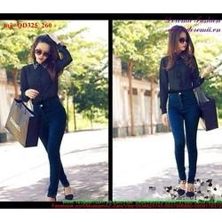 Quần jean nữ lưng cao một nút dáng đẹp quyến rũ hQD325