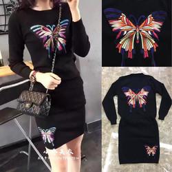 Set áo và chân váy len in hình bướm - Hàng nhập Quảng Châu