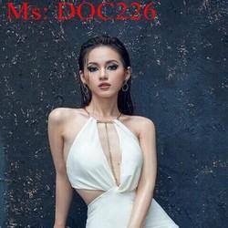 Đầm body dự tiệc trắng khoét eo phối dây xích vàng sành điệu DOC226