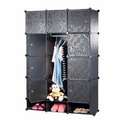 Tủ nhựa lắp ráp 12 ô cửa vân hoa 3 ô giày 110 x 47 x 157 cm Đen