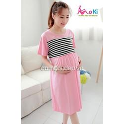 Đầm bầu - Váy cho con bú - Váy thun sọc ngực - VT28230