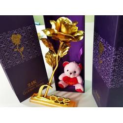Hoa hồng vàng 24k chữ Love - không gấu