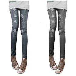Quần legging giả jean rách