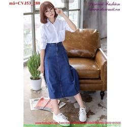 Chân váy Jean dài 1 nút khóa kéo nữ tính CVJ53