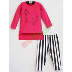 Bộ áo dài quần ôm sọc in mèo bé gái