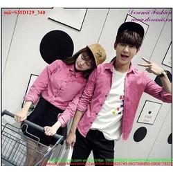 Áo sơ mi cặp tình nhân màu hồng trẻ trung sành điệu pSMD129