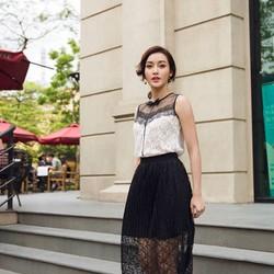 Set Áo Ren Và Chân Váy Ren Dập Ly Xinh