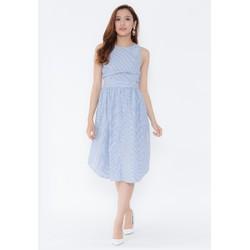 Đầm xòe xanh dương sọc trắng viền đai phối nút